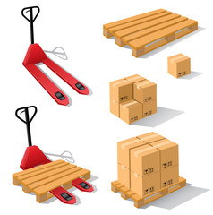 Hand forklift with pallets and boxes