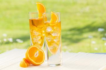 cold summer drinks in garden