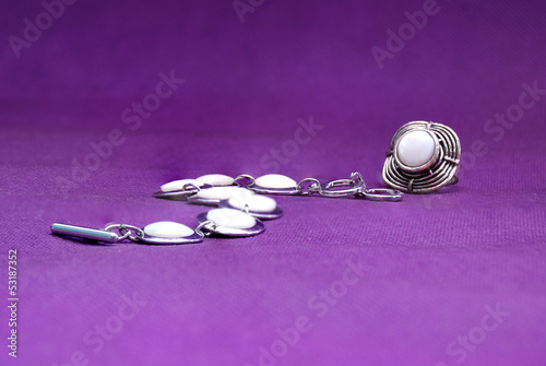 Jewellery on deep purple