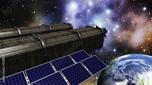 Animation of a space station in space