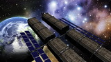 Animation of a space station in outer space poster
