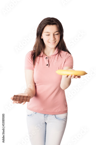 girl with chocolate and banana isolated on white