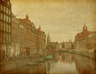Evening in Amsterdam, Netherlands. Paper texture.