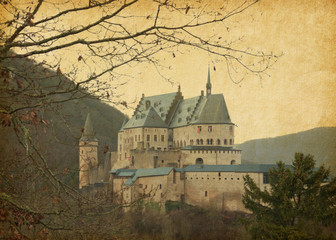 Paper texture with image of Vianden Castle, Luxembourg