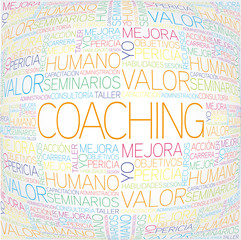 Coaching concept related spanish words in tag cloud