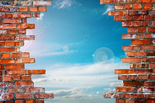 brick wall with hole - 53190533