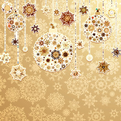 Beige background with christmas balls. EPS 8