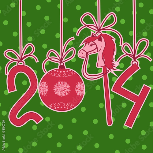 New Year and Christmas card with 2014 stylized numbers