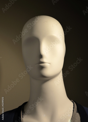 male mannequin head close up