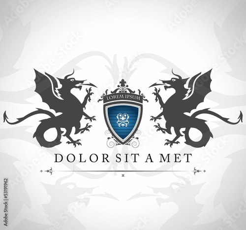 Vintage emblem with dragons with a place for Your text