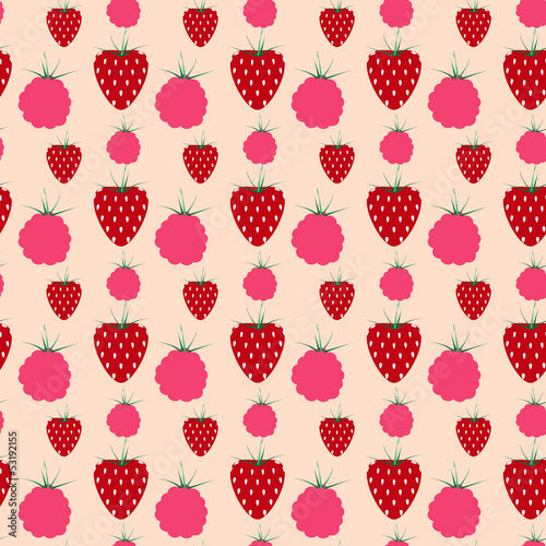 Poster decorative seamless pattern strawberries and raspberries