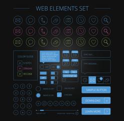 clean web elements set black