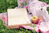Apple and open book in green grass