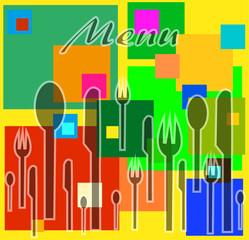 disegno composto da posate su sfondo colorato