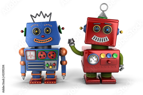 Toy robot buddies over white background - 53195314