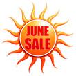 June sale in 3d sun label