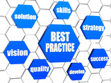best practice and business concept words in blue hexagons