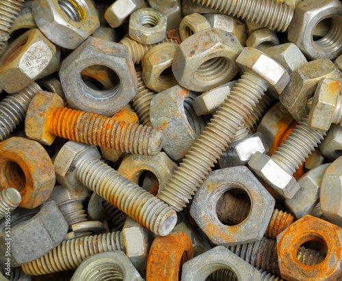 Old rusty bolt and nuts