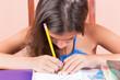 Hispanic girl working on her school project