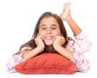Girl lying on the floor wearing her pajamas