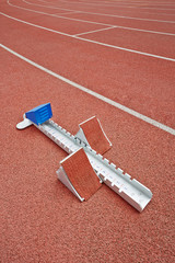 Starting blocks on race track