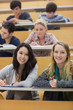 Smiling students in a lecture