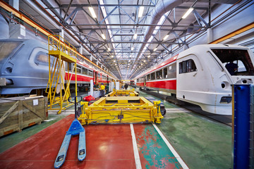 Assembly of rail buses in shop floor