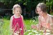 Mutter und Tochter pflücken Blumen auf Sommerwiese