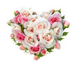 canvas print picture - Roses flowers  heart shape isolated.