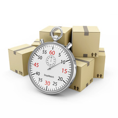 Cardboard Boxes with a Stopwatch on white background