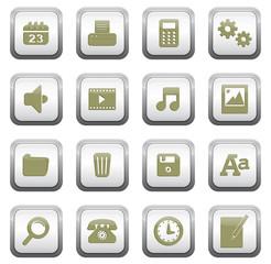 set icônes boutons carrés bureau uni
