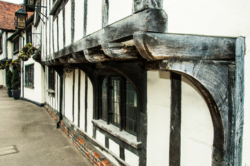 Close up of timber architecture of Lavenham, Suffolk, England