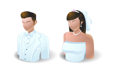 people icons : wedding bride and groom