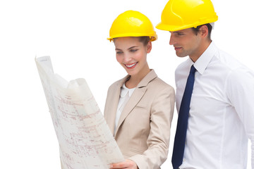 Architect team looking at construction plan