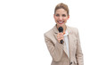 Smiling businesswoman holding microphone
