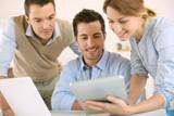 Business project presentation on digital tablet