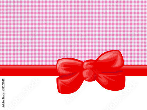 Gingham illustration, Ribbon and Bow, Pink, White, Red