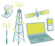 Telecommunication equipment icon set