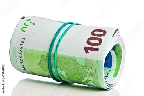 Roll of one hundred euro bills with a rubber band
