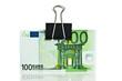 One hundred euro bills on white background