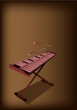 A Retro Xylophone on Dark Brown Background