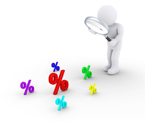 Person with magnifier searching for bigger discount