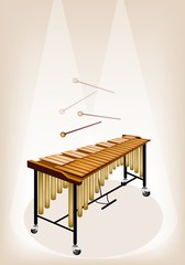 Two Retro Vibraphone on Brown Stage Background