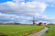 sunny day on Dutch farmland with windmill