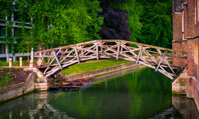 Mathematical bridge over river Camb, Cambridge,