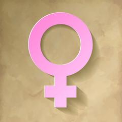 Venussymbol Weibliches Geschlecht Rosa Hintergrund Vintage