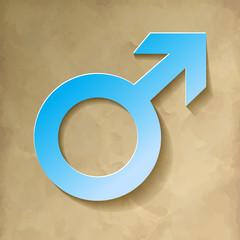 Marssymbol männliche Geschlecht Blau Hintergrund Vintage