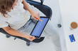 Overview of a designer using her tablet pc