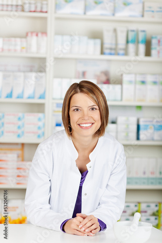 Cheerful pharmacist chemist