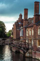 Mathematical bridge in spring over Cam river, Cambridge, England